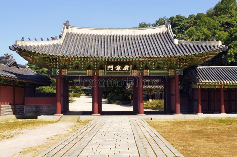Seoul Sydkorea, port för Changdeok slottingång royaltyfri bild