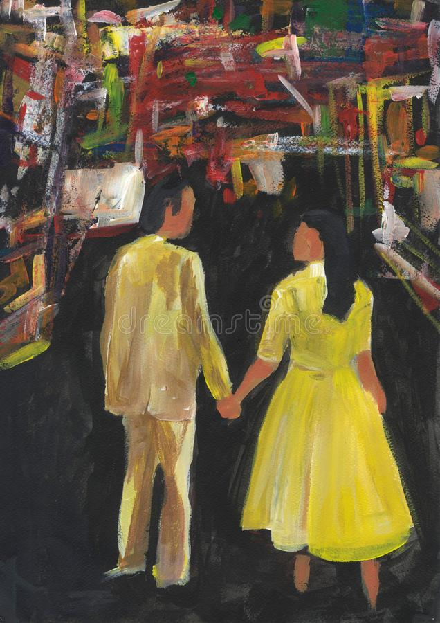 Young couple in yellow holding hands. View from the back. Man and woman in love in the big city. stock illustration
