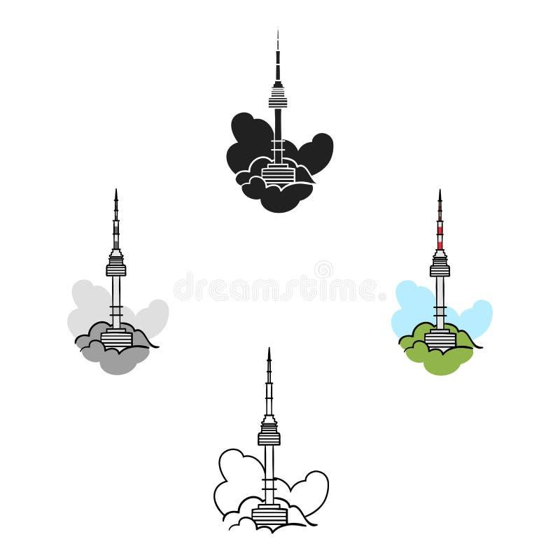 Seoul-Turmikone in der Karikatur, schwarze Art lokalisiert auf weißem Hintergrund S?dkorea-Symbolvorrat-Vektorillustration stock abbildung