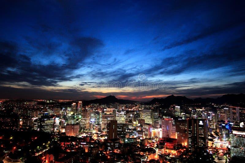 Seoul at twilight stock photography