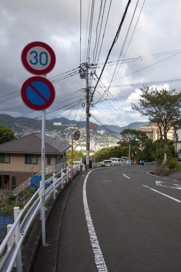 13 sep de mening van 2016 van de stad van Nagasaki, Japan Maximum snelheid 30 stock foto's