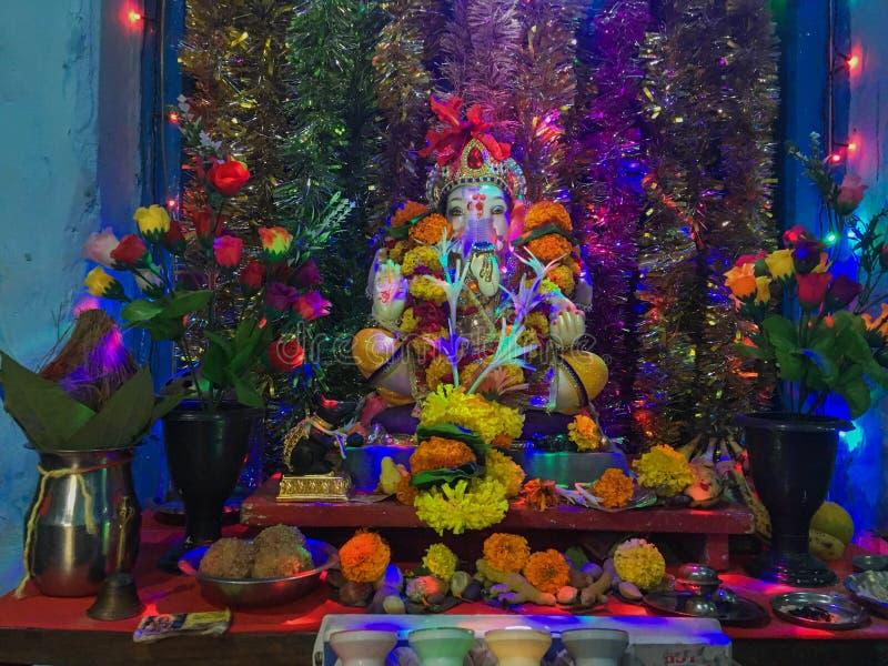 Decoration for Home Ganpati Puja Kon Gaon near Bhiwandi Kalyan road Maharashtra. 05 Sep 2019 Decoration for Home Ganpati Puja Kon Gaon near Bhiwandi Kalyan road stock image