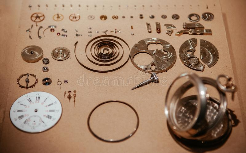 Old antique pocket watch mechanisms parts royalty free stock photo