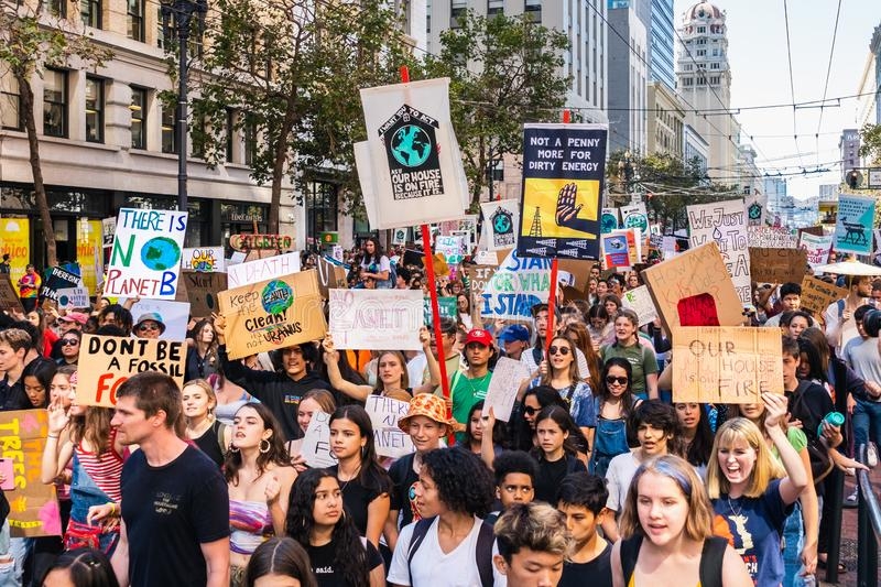 Sep 20, 2019 San Francisco / CA / USA - Protesters carrying placards and banners at the Climate Strike Rally and March in downtown. San Francisco royalty free stock photo