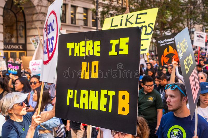 Sep 20, 2019 San Francisco / CA / USA - There is no planet B placard raised at the Global Climate Strike Rally and March in. Downtown San Francisco royalty free stock photography