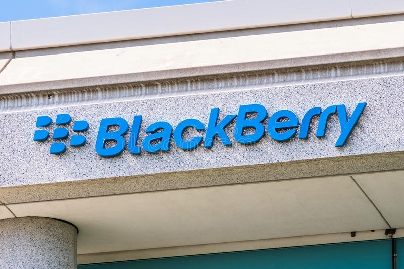 Sep 25, 2019 San Ramon / CA / USA - Blackberry logo at their HQ  in East San Francisco Bay; BlackBerry Ltd former developer of. The BlackBerry smartphones stock photography