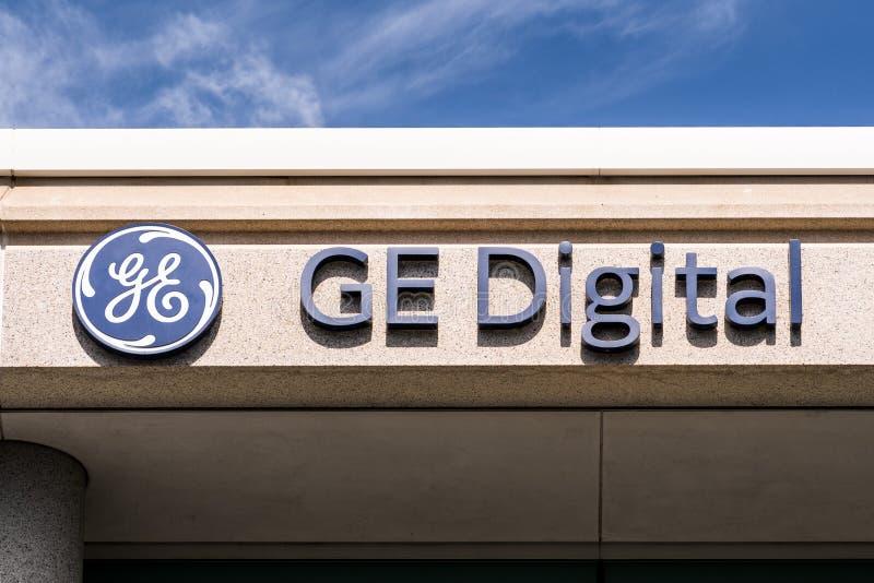 Sep 25, 2019 San Ramon / CA / USA -GE Digital σήμα στα κεντρικά γραφεία στην περιοχή του San Francisco Bay, GE Digital, θυγατρική στοκ εικόνες