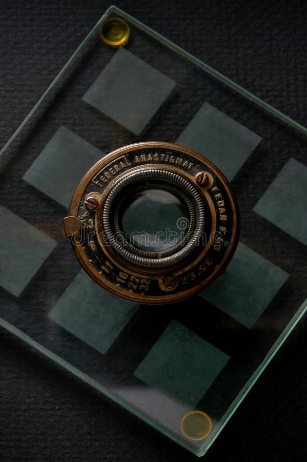 Vintage Federal anastigmat Fedar f 6.3 lens Kalyan near Mumbai Maharashtra INDIA. 24 Sep 2015 Vintage Federal anastigmat Fedar f 6.3 lens Kalyan near Mumbai royalty free stock photo