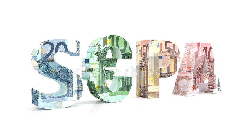 SEPA - Single Euro Payments Area With Euro Currency Stock Photography