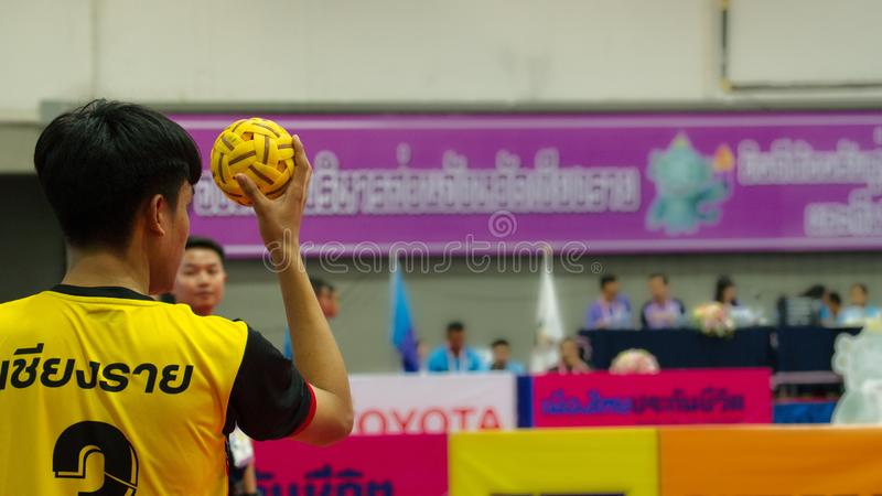 Sepak takraw two player team action in Thailand National Games, Chiang Rai Games. Chiang Rai, Thailand - November 19, 2018 : Sepak takraw two player team action stock images