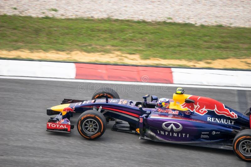 SEPANG - 28 MAART: Daniel Ricciardo in laatste kromme royalty-vrije stock foto's