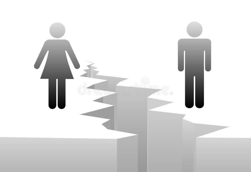Separação da mulher do homem pela abertura de género do divórcio ilustração stock