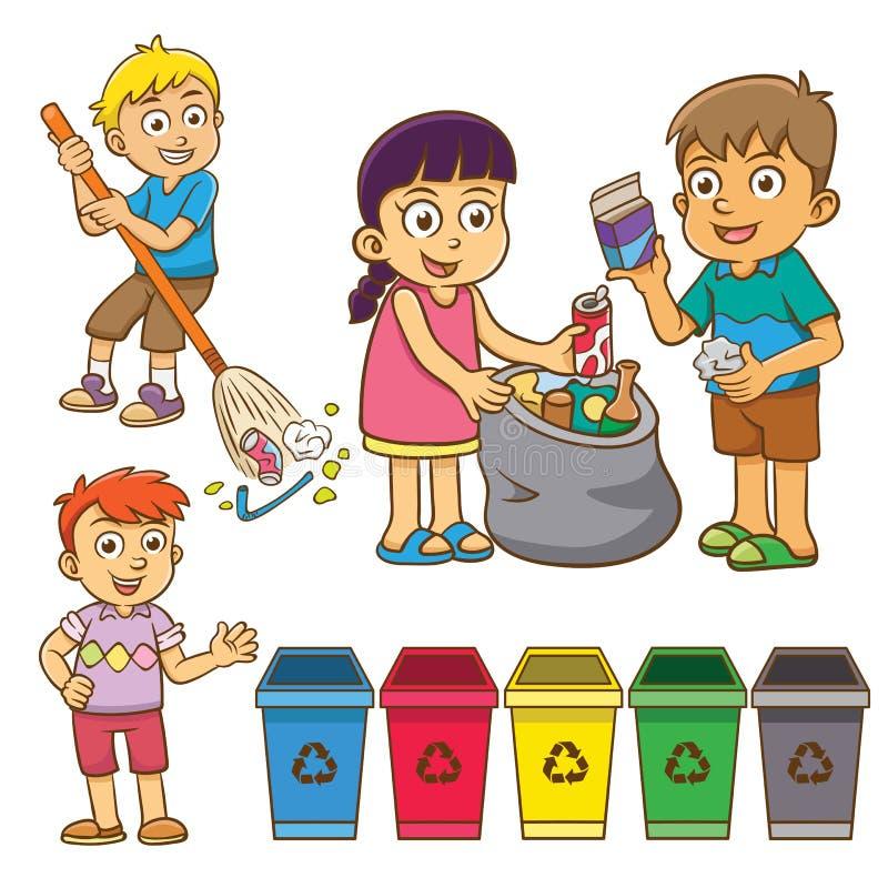 A separação do desperdício da criança para recicla ilustração do vetor