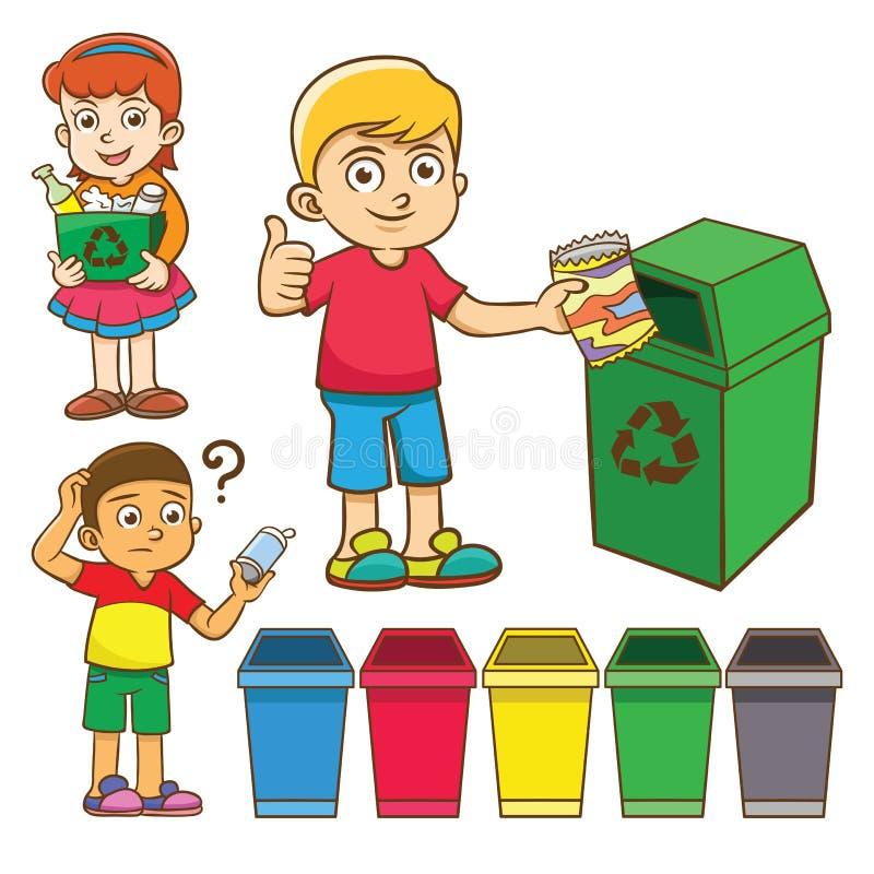 A separação do desperdício da criança para recicla ilustração stock