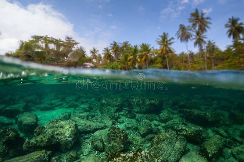 A separação subaquática disparou da parte inferior rochosa do mar fotografia de stock