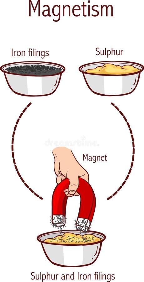 Separación de limaduras del azufre y del hierro usando un imán ilustración del vector