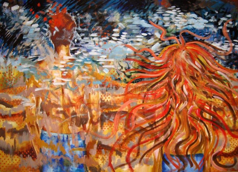 Separación. Pintura abstracta de un par. ilustración del vector