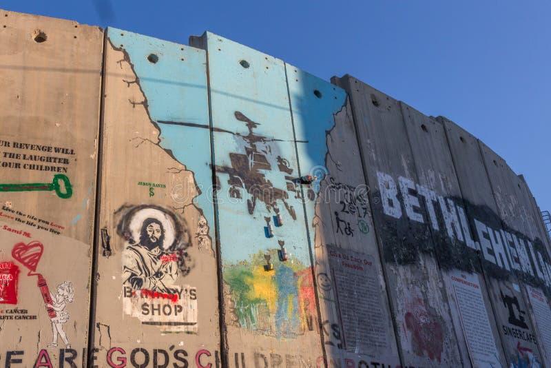 Separacyjna bariera, pokój ściana w Bethleham/, Izrael obrazy stock