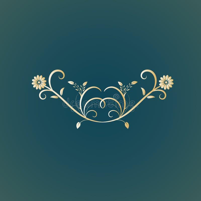 separador del diseño floral del vector stock de ilustración
