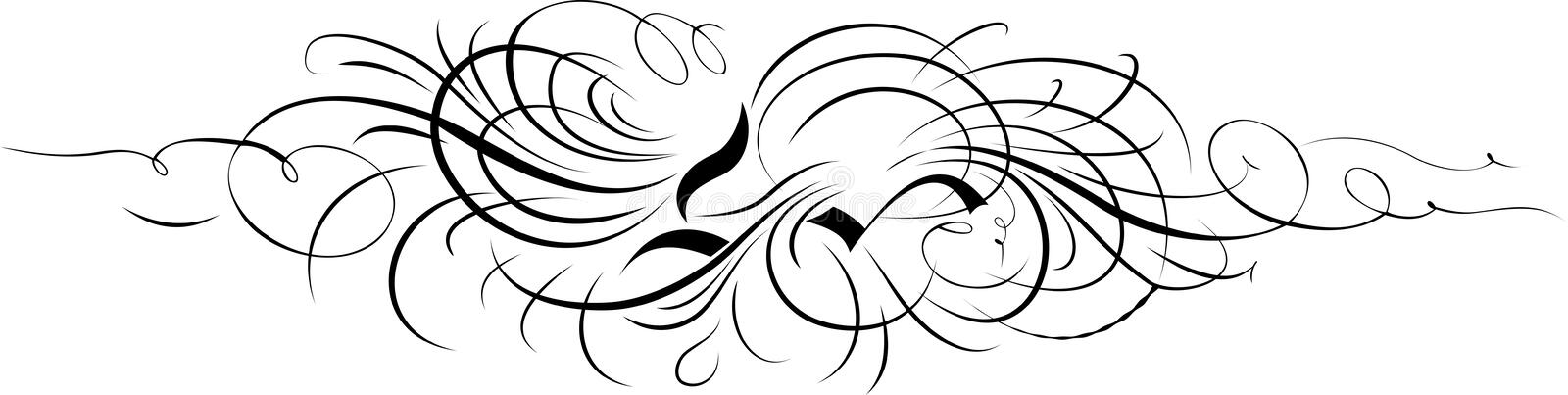 separat calligraphykurvprydnad stock illustrationer