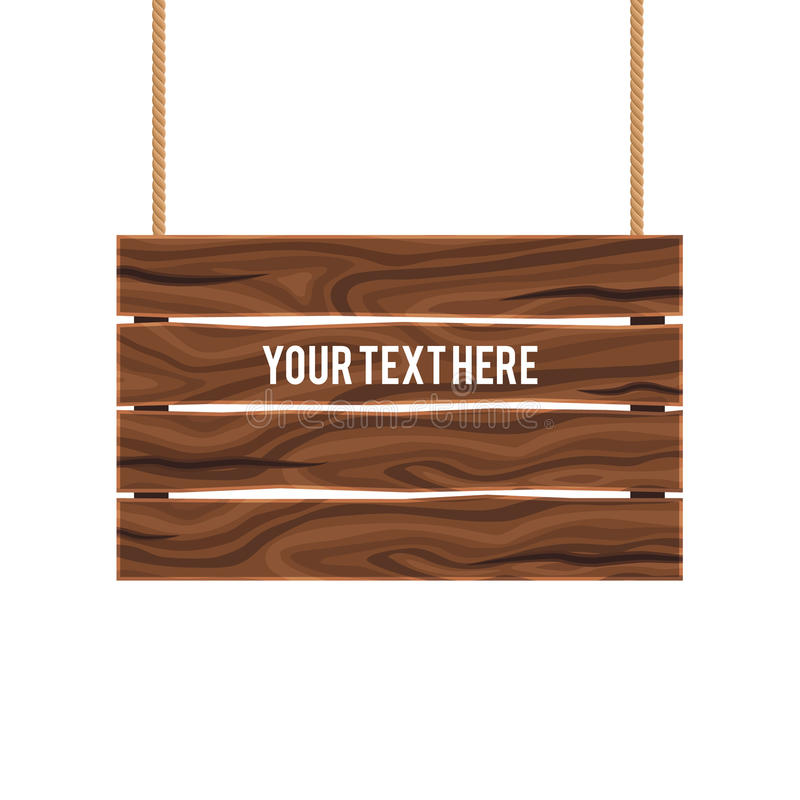 Separate Empty Wood Composite Signboard. Hanging on ropes of brown color on white background vector illustration vector illustration