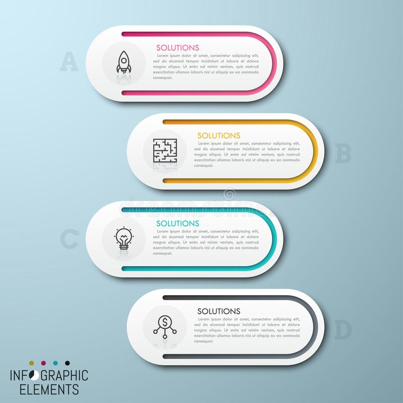 4 separate rounded elements placed one under other. With thin line pictograms and text boxes inside. List with four options concept. Modern infographic design stock illustration
