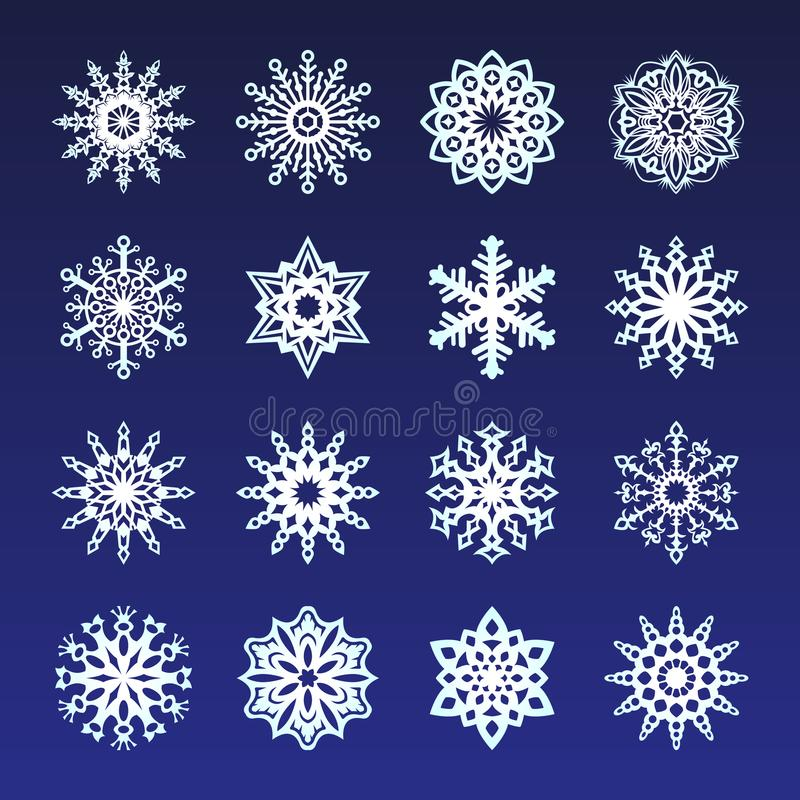 Separate Snowflakes Doodles icon white Vector Rustic christmas clipart new year snow crystal illustration in flat style. Eps10 royalty free illustration