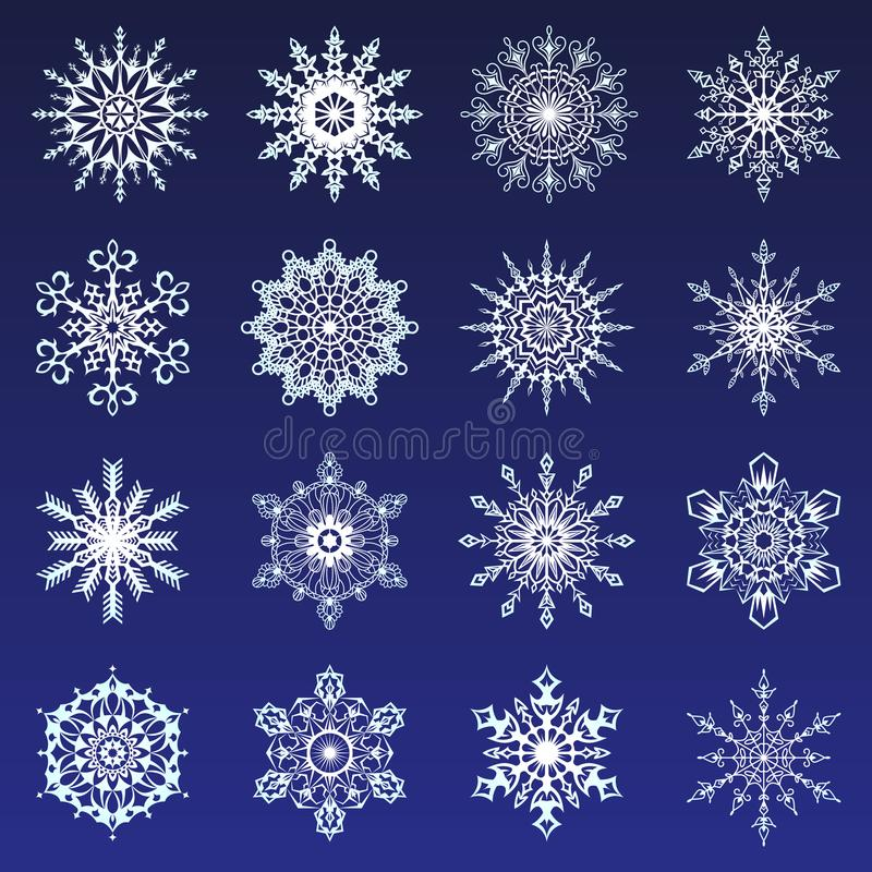 Separate Snowflakes Doodles icon white Vector Rustic christmas clipart new year snow crystal illustration in flat style. Eps10 stock illustration