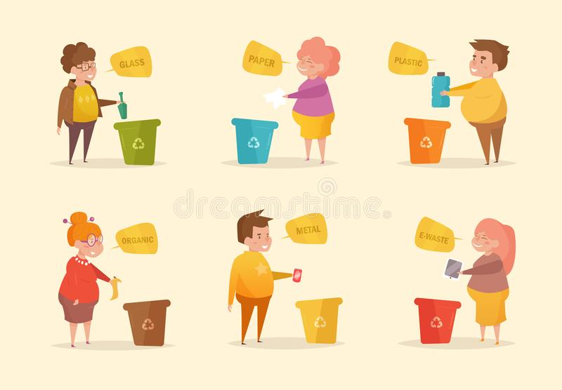 Separate sorting garbage. Vector. Cartoon. Isolated art on white background. Flat Character royalty free illustration