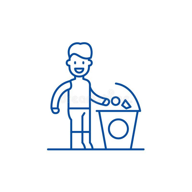 Separate trash line icon concept. Separate trash flat  vector symbol, sign, outline illustration. Separate trash line concept icon. Separate trash flat  vector stock illustration