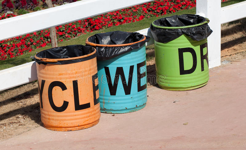 Separate waste drum. In the national garden stock images