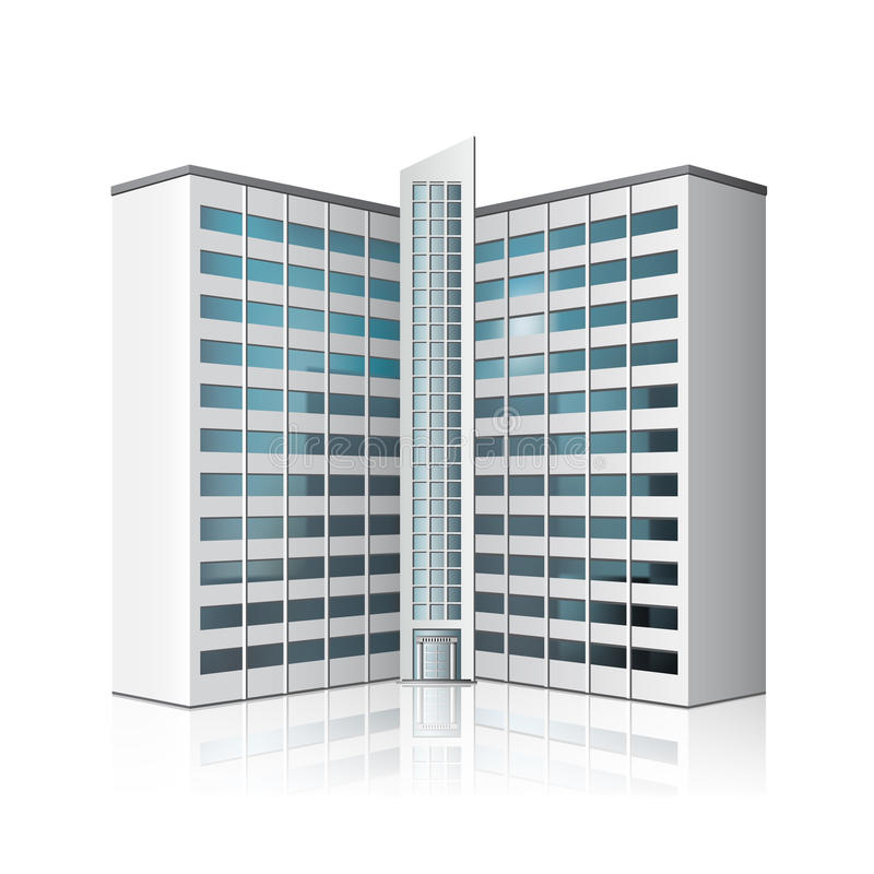 Separately standing office building, business center. Detached multistory office building, business center with reflection