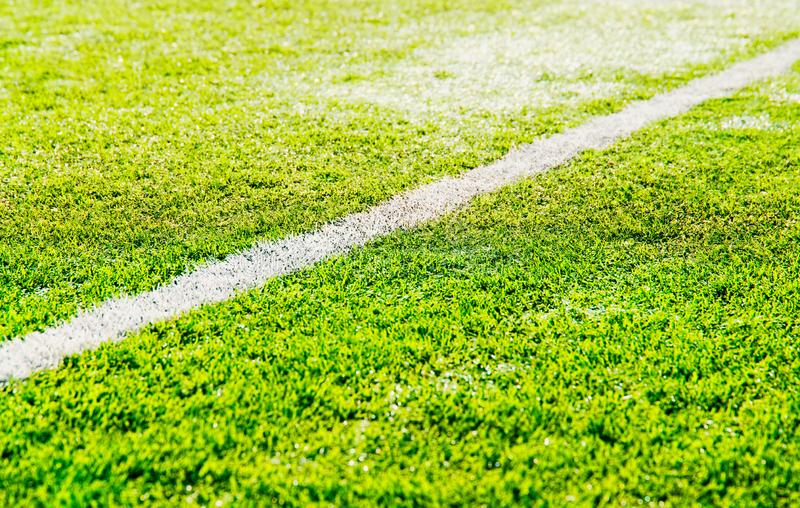 Separation line on soccer field background stock image