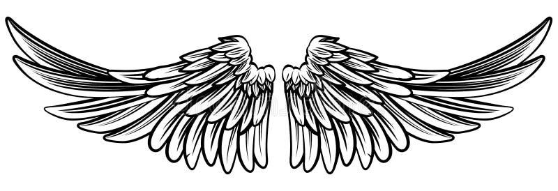Separe los pares de ángel o de Eagle Wings stock de ilustración