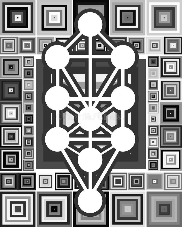 Sephiroth-Baum auf abstraktem Hintergrund stock abbildung