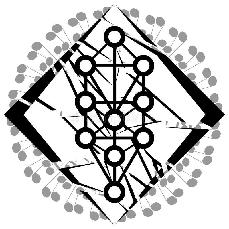 Sephiroth-Baum auf abstrakter Dekoration vektor abbildung