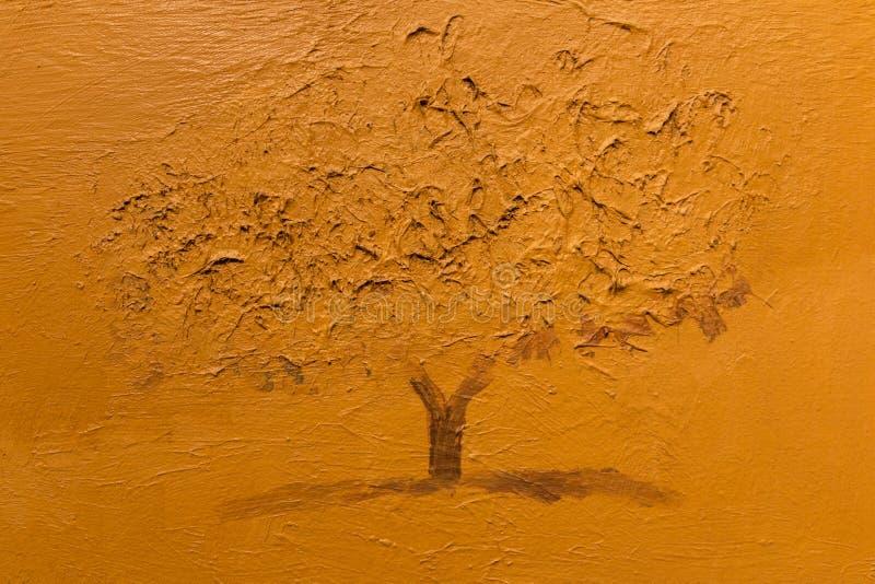 Sepia Art Painting monocromático: Única árvore fotos de stock