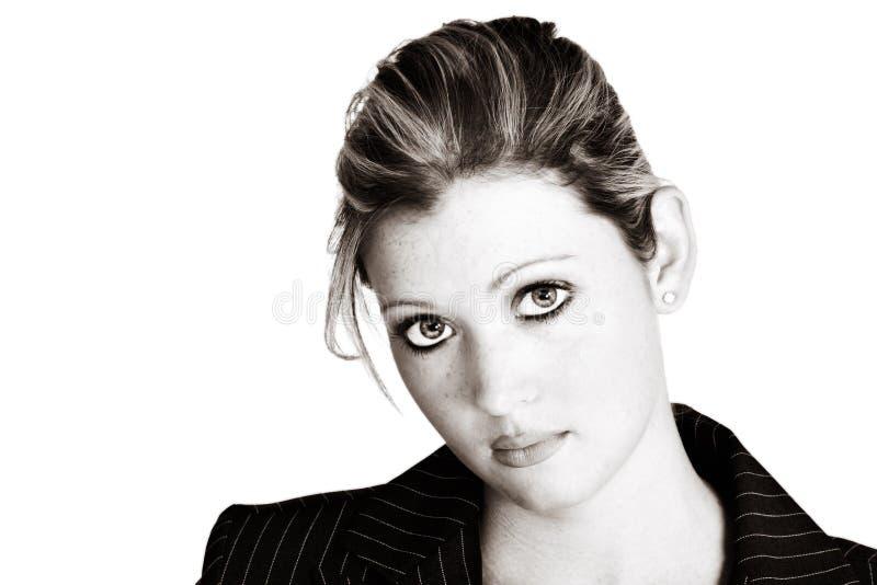 Sepia blond businesswoman royalty free stock photo