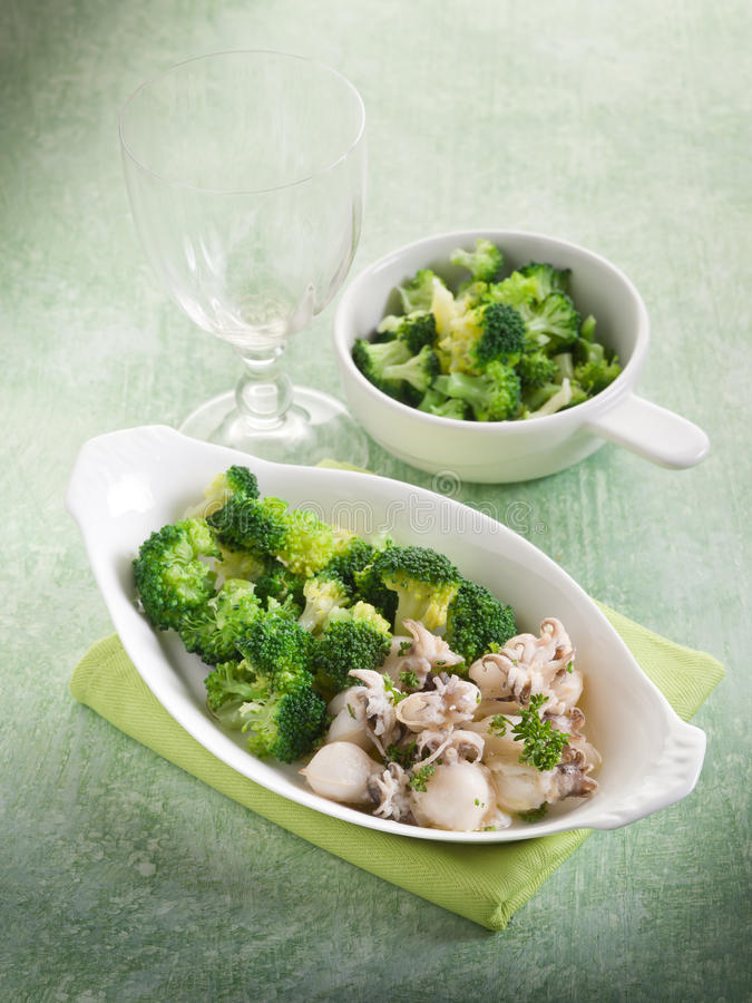 Download Sepia with broccoli stock photo. Image of seafood, broccoli - 23128038