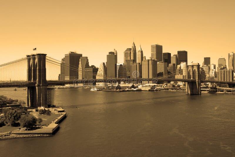sepia brooklyn моста стоковое изображение
