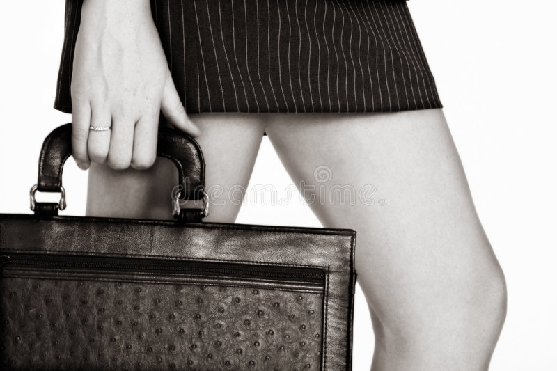 Sepia businesswoman with a case stock images