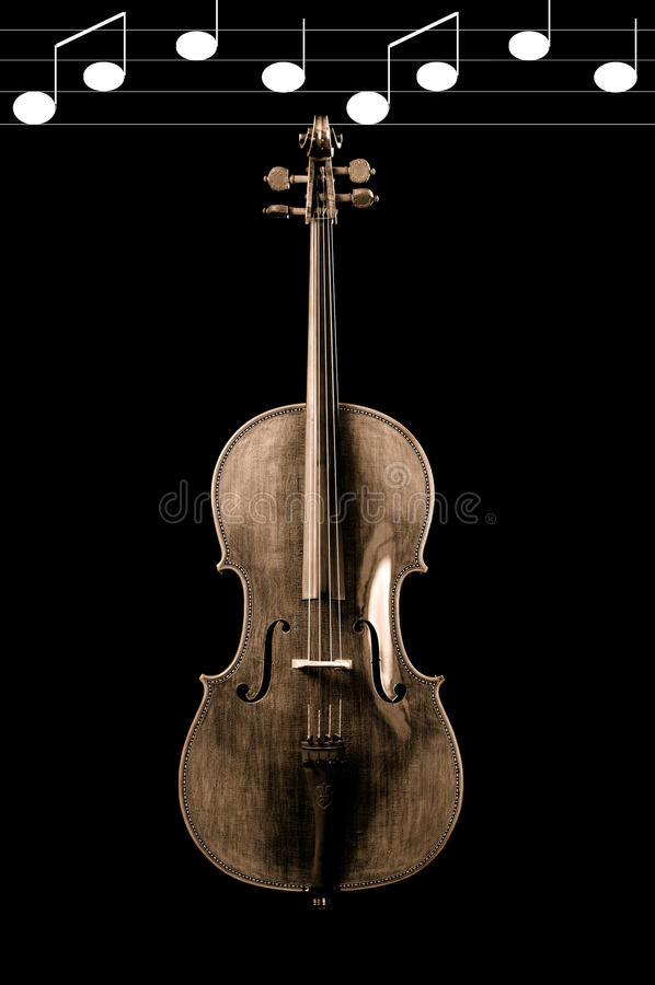 Cello With Notes Stock Image Image Of Wood White