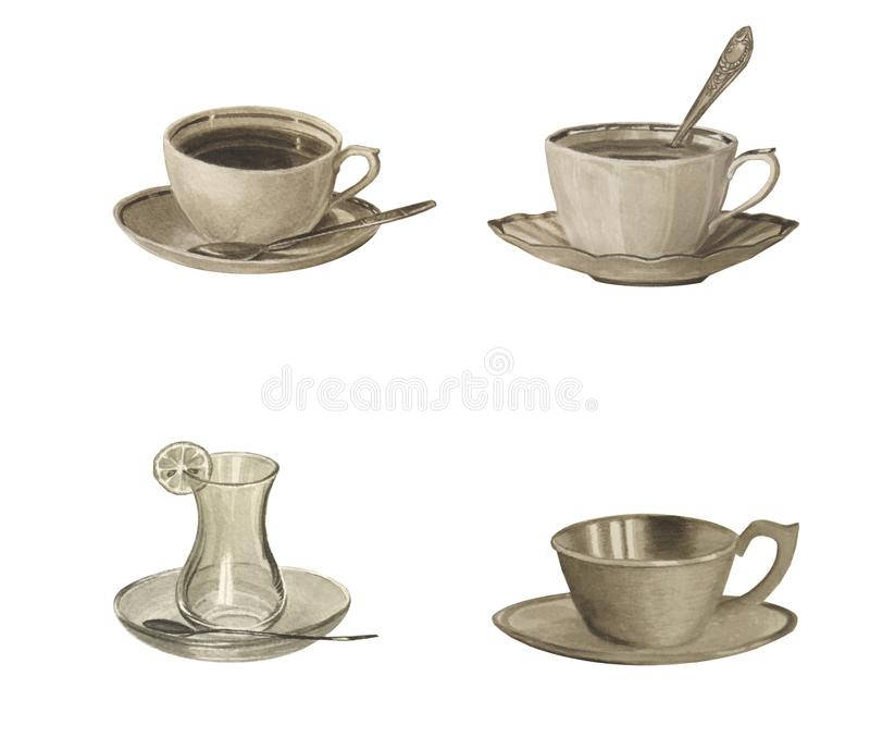 Sepia color set of teacups isolated on white. Watercolor beautiful illustration. stock photography