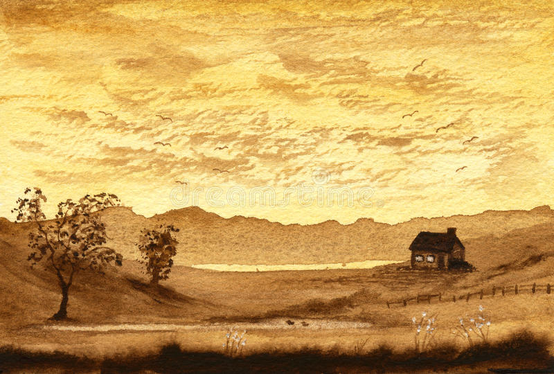 Sepia Cottage royalty free stock images