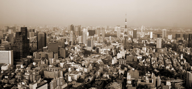 Sepia de Tokio fotografía de archivo
