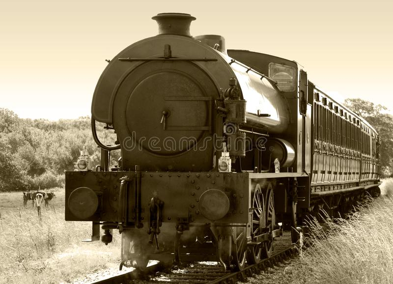 Sepia do trem do vapor fotos de stock royalty free