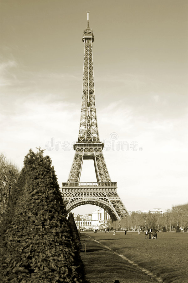 Sepia Eiffel Tower in Paris France Europe