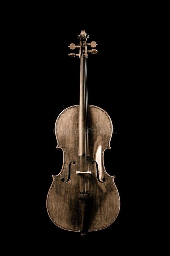 Sepia eines Cellos lizenzfreies stockbild