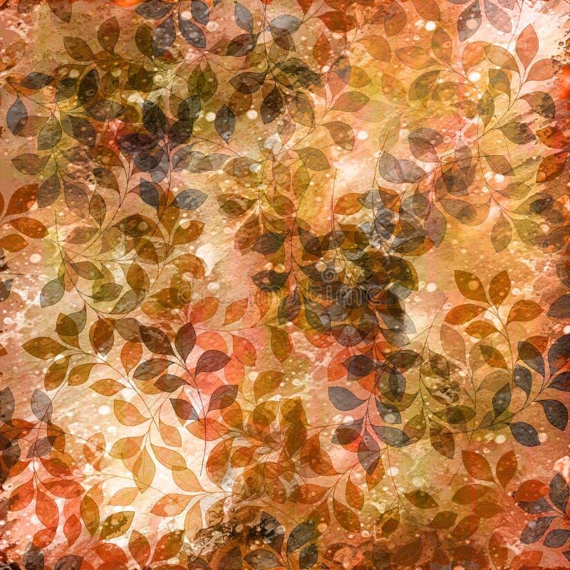 Sepia en de herfstbladeren stock illustratie