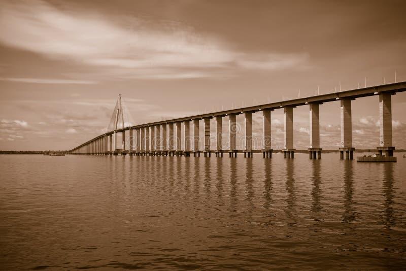 Sepia fez tonalidades na Ponte Rio Negro, Manaus, Amazonas Brasil foto de stock